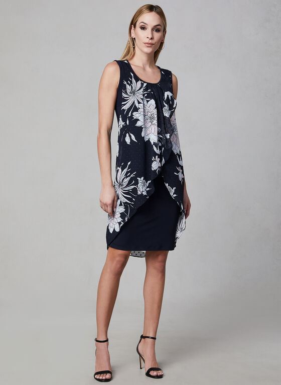 Frank Lyman - Floral Print Chiffon Dress, Blue, hi-res
