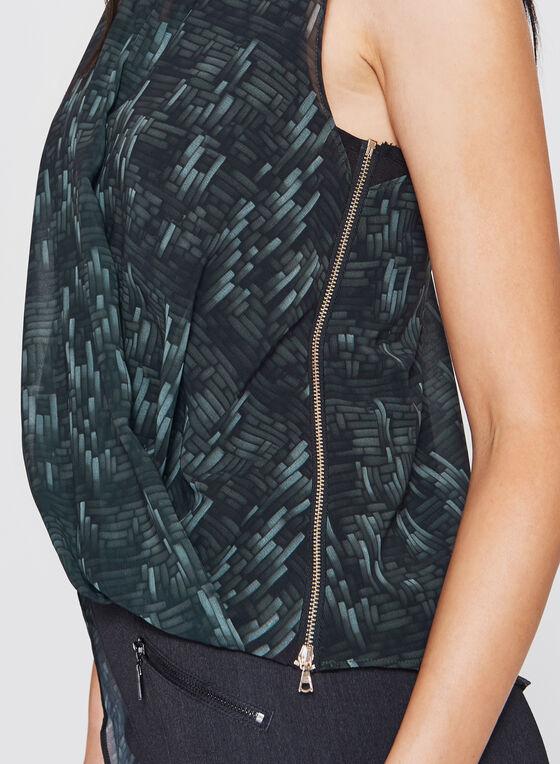 Geometric Print Asymmetric Wrap Top, Green, hi-res