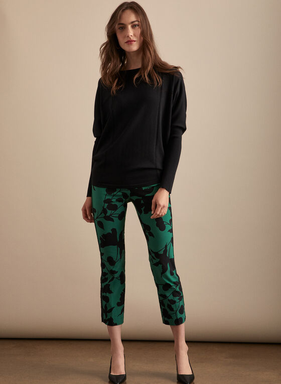 Floral Print Pull-On Capris , Green