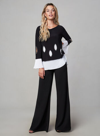 Joseph Ribkoff - Crystal Detail Jersey Top, Black,  fall winter 2019, crystal details, jersey fabric, long sleeves
