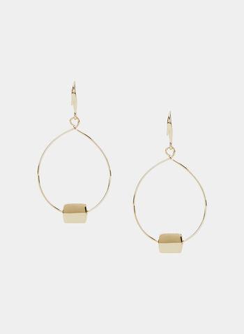 Boucles d'oreilles à pendants ovales, Or, hi-res
