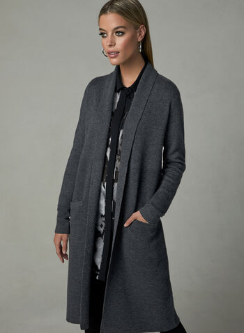 Ottoman Knit Open Front Cardigan, Grey, hi-res