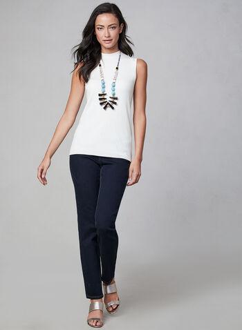 Sleeveless Ribbed Knit Top, Off White,  sleeveless, knit, mock neck, ribbed, fall 2019, winter 2019
