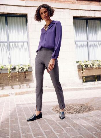 Amber Ankle Length Pants, Grey,  pants, amber, slim, zipper, pleats, spring summer 2020