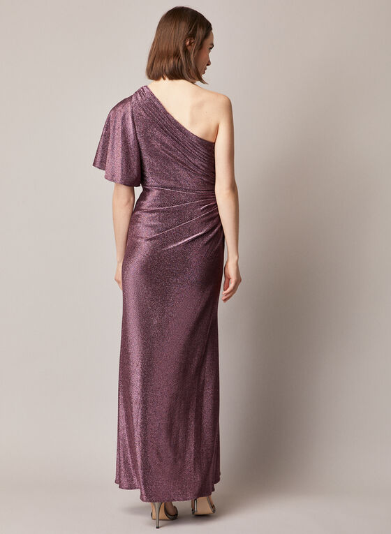 Adrianna Papell - Metallic One Shoulder Dress, Purple