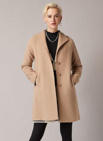 Mallia - Manteau en mélange de laine , Brun,  automne hiver 2019, manteau, laine, cachemire