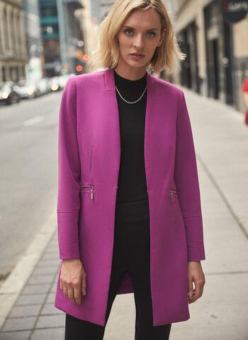 Veste redingote à détails zippés, Pourpre,  veste, redingote, zip, manches longues, automne hiver 2020