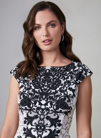 Maggy London - Lace Print Dress, Black,  scuba, sleeveless, cap sleeves,