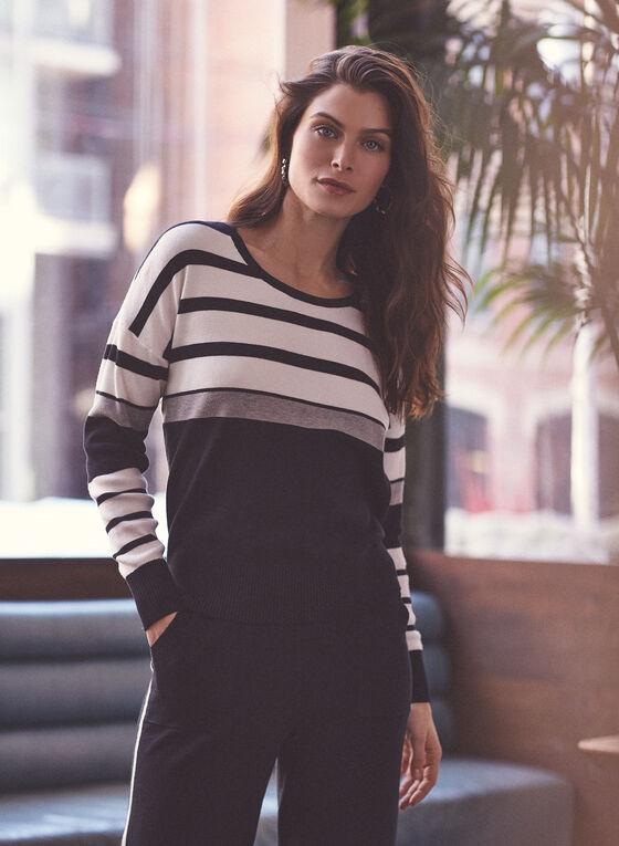 Alison Sheri - Stripe Print Colour Block Sweater, Black