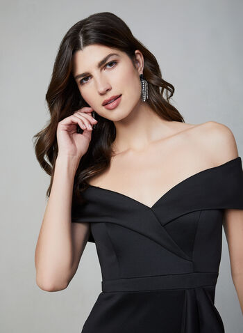 BA Nites - Off-the-Shoulder Dress, Black,  evening gown, off-the-shoulder, draped, slit, heart shaped neckline, fall 2019, winter 2019