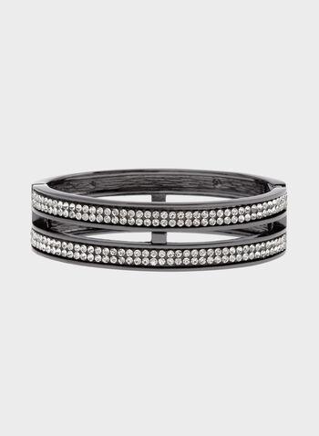 Bracelet rigide double rang avec cristaux, Gris, hi-res