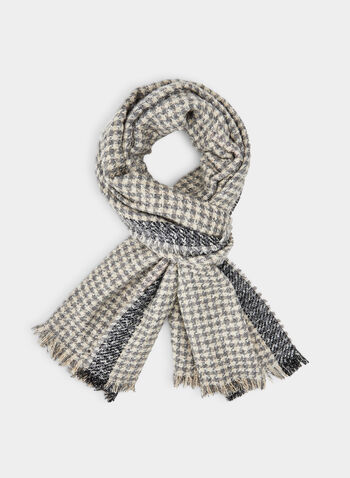 Houndstooth Print Scarf, Grey,  monochrome, houndstooth, print, scarf, knit, oblong, blanket, fall 2019, winter 2019