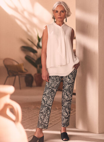 Paisley Print Pull-On Capris, Black,  capris, pull-on, paisley, slim leg, bengaline, spring summer 2020