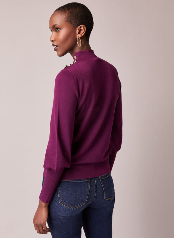 Button Detail Ruched Sleeve Sweater, Purple