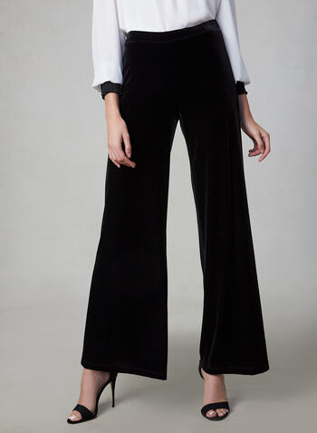 Wide Leg Velvet Pants, Black, hi-res,  Canada, pants, velvet, velour, pull on, elastic waist, wide leg, fall 2019, winter 2019