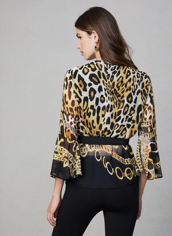 Frank Lyman - Blouse cache-cœur léopard, Noir, hi-res