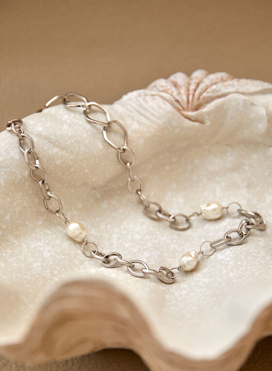 Short Pearl Insert Necklace, Off White