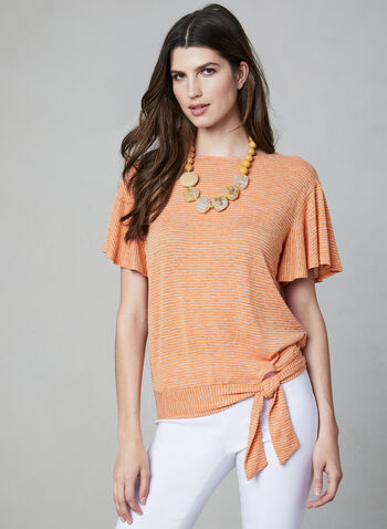 Stripe Print Flutter Sleeve Top, Orange, hi-res