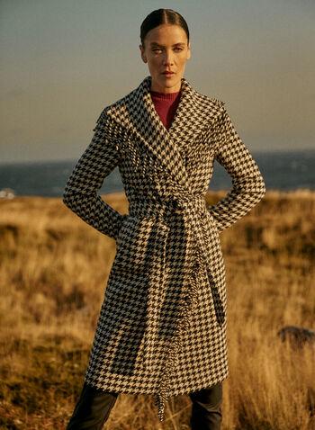 Houndstooth Print Fringe Coat, Black,  houndstooth, fringe, coat, long sleeves, belt, pockets, fall winter 2020