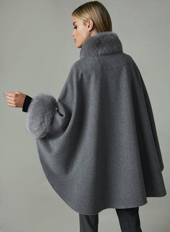 Mallia - Cape en laine à détails de fourrure, Gris