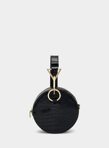 Crocodile Print Round Handbag, Black,  circle, round, chain, faux crocodile skin, fall 2019, winter 2019