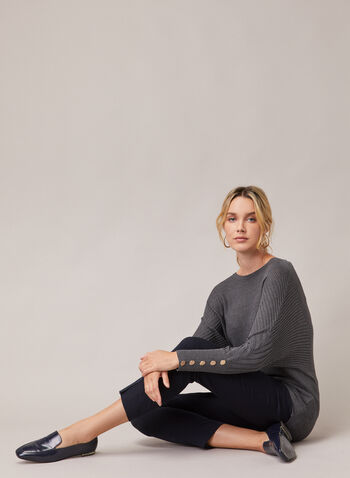 Dolman Sleeve Sweater, Grey,  sweater, dolman sleeves, buttons, ribbed knit, scoop neck, fall winter 2020