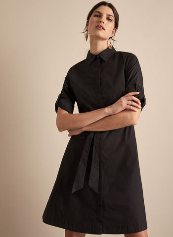 Belted Shirt Dress, Black,  dress, day, shirt dress, long sleeves, shirt collar, button front, tie belt, spring summer 2020