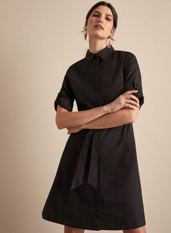 Belted Shirt Dress, Black