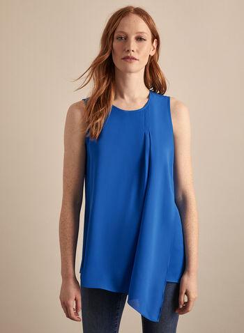 Blouse sans manches superposée , Bleu,  blouse, sans manches, effet plissé, crêpe, asymétrie, superposition, printemps été 2020