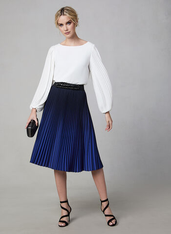 Blouse à manches plissées, Blanc cassé, hi-res,  blouse, manches ballon plissées, crêpe, col dégagé, automne hiver 2019