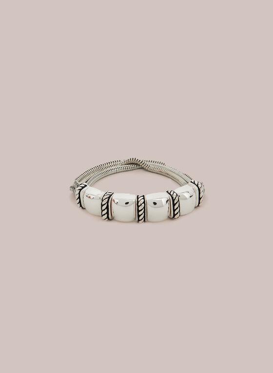 Metallic Stretch Chain Bracelet, Silver