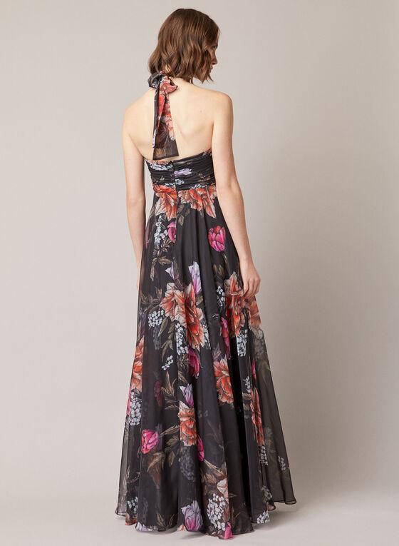 Floral Print Halter Neck Dress, Black