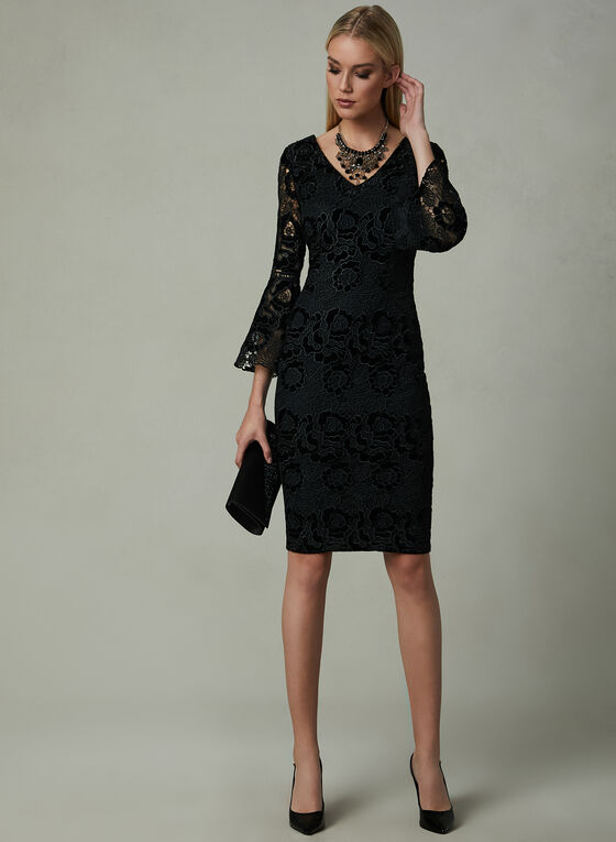Frank Lyman - Velvet Lace Dress, Black, hi-res