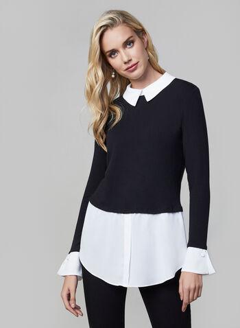 Shirttail Hem Fooler Top, Black, hi-res,  fooler blouse, light knit sweater