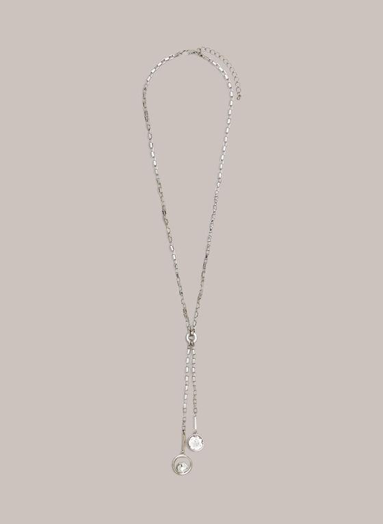 Collier à pendentif double cristal, Argent