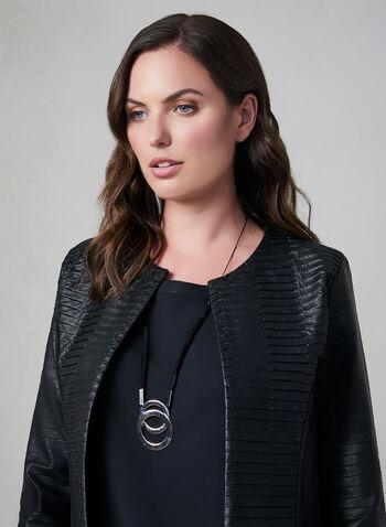 Frank Lyman - Veste ouverte en faux cuir plissé, Noir, hi-res,  veste, faux cuir, manches longues, ouvert, automne hiver 2019