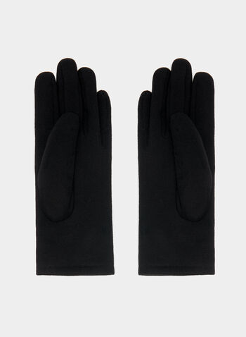 Quilted Metal Detail Gloves, Black, hi-res