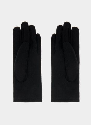 Gants à détails coutures et chaîne, Noir, hi-res