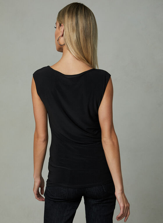 Illusion V-Neck Sleeveless Blouse, Black, hi-res