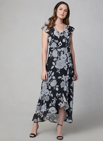 Maggy London - Floral Print Ruffle Dress, Black, hi-res,  chiffon, flutter sleeves, short sleeves, spring 2019
