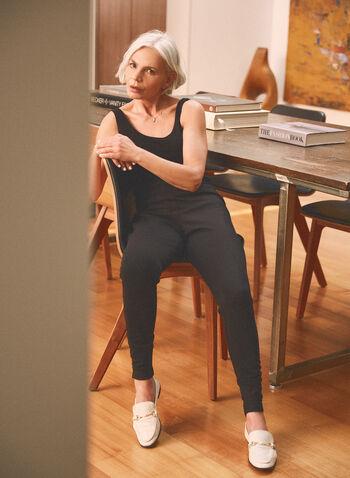 Shirred Hem Pull-On Leggings, Black,  pants, leggings, shirred hems, slim leg, stretchy, spring summer 2021