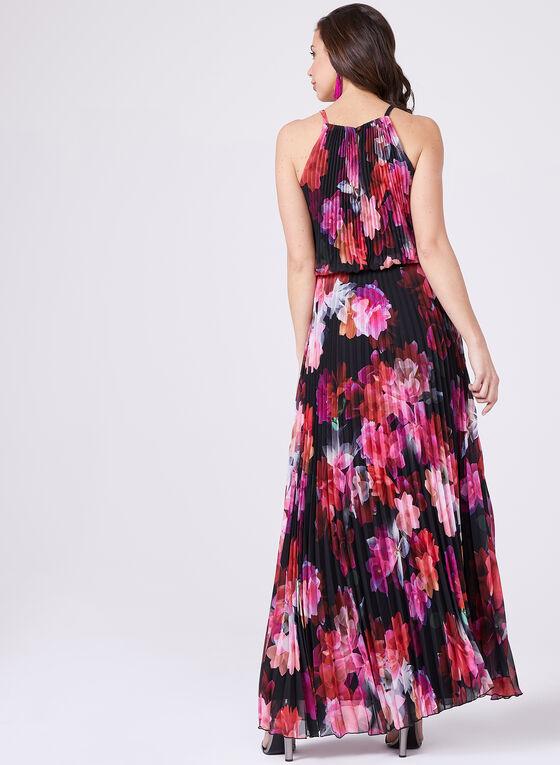 BA Nites - Robe longue plissée à motif floral, Rouge, hi-res