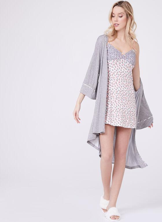 Nanette Lepore - Nuisette et kimono motif abstrait et dentelle, Gris, hi-res