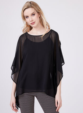 Camisole Cold Shoulder Poncho Set, Black, hi-res