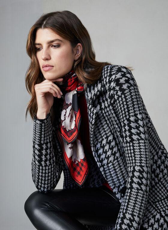 Cardigan aspect manteau à carreaux, Gris
