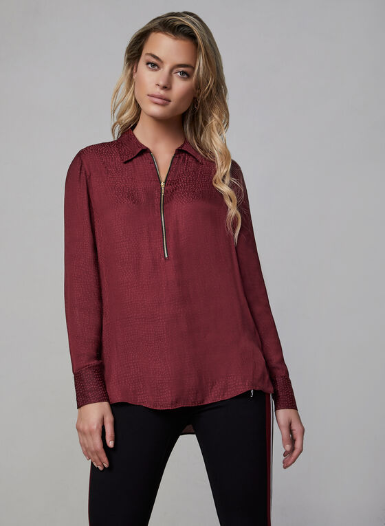 Satin Tunic Blouse, Red, hi-res