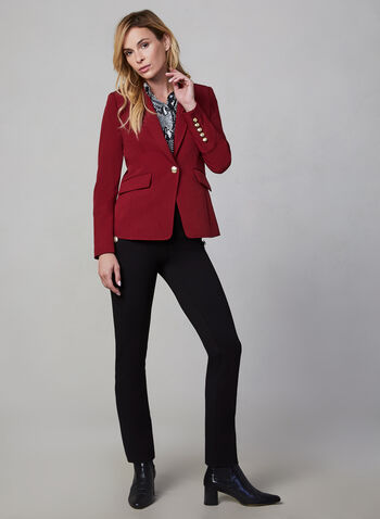 Notch Collar Blazer, Red,  one button blazer, tailored, workwear, long sleeves, fall 2019, winter 2019