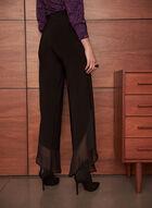 Asymmetrical Wide Leg Chiffon Pants, Black