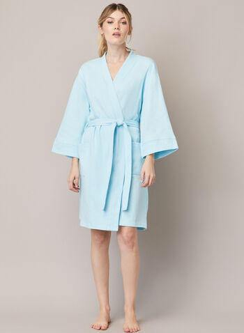 Textured Knit Robe , Blue,  fall winter 2020, robe, knit, belt, pockets, sleepwear