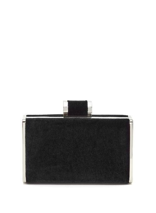 Velvet Box Clutch, Black, hi-res